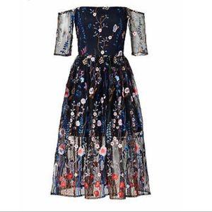 Anthropologie Vone Floral Embroidered Maxi Dress